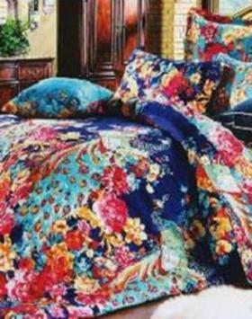 sprei motif dewasa blue peacock