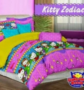 Sprei Star Kitty Zodiac | grosir Bed Cover murah | sprei bahan katun CVC