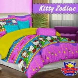 Sprei Star Kitty Zodiac | grosir Bed Cover murah | sprei bahan katun CVC