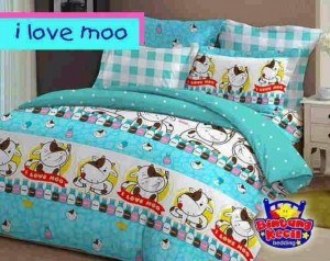 Sprei Star | I Love Mo Biru | Jual Bed Cover