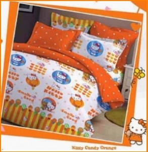 Sprei Hello Kitty Candy Orange