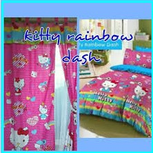 Pernak Pernik Kamar Hello Kitty sprei Kitty Rainbow Dash