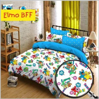 Sprei Star Elmo BFF Dan Bed Cover
