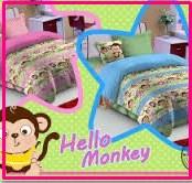 Sprei Star Hello Monkey-2 Motif Kera Untuk Anak