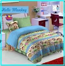Sprei Star Hello Monkey Motif Kera Untuk Anak