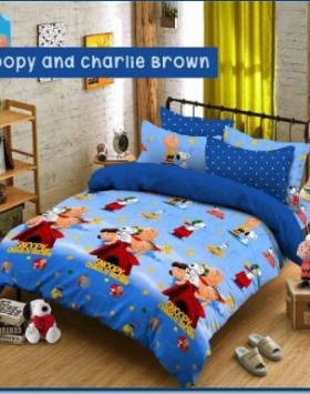 Sprei Star Karakter Snoopy And Charlie Brown dengan Bed Cover