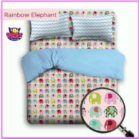 Sprei Star Motif Anak Rainbow Elephant Beserta Bed Cover