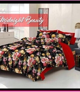 Grosir Sprei Star Midnight Beauty berikut bed cover bahan katun murah