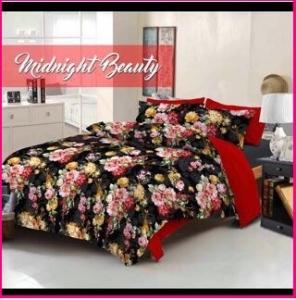 Grosir Sprei Star Midnight Beauty berikut bed cover bahan katun murah