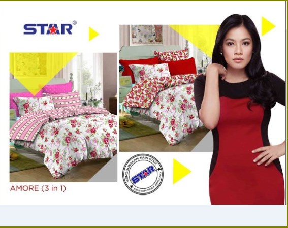 Bed Cover dan Sprei Star Murah Terbaru Online Amore 3 in 1 - 2