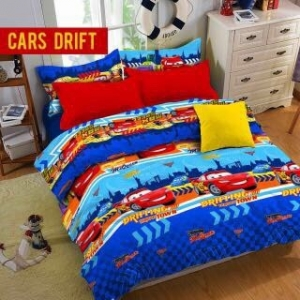 Sprei Star Collection Untuk Anak Motif CArs Drift