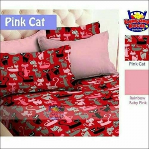 Sprei Star Collection Motif Pink Cat Yang Lucu