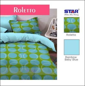 Bed Cover Terbaru 2018 Motif Star Roletto Warna Biru Hijau