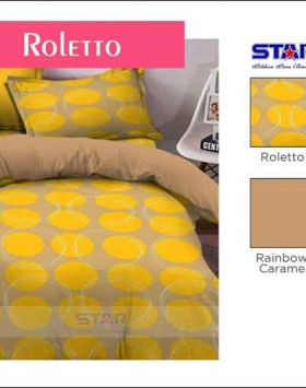 Bed Cover Terbaru 2018 Motif Star Roletto Warna Kuning Coklat