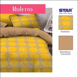 Bed Cover Terbaru 2018 Motif Star Roletto Warna Kuning Coklat