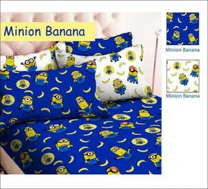 Grosir Sprei Dan Bedcover Minion Banana motif Kartn Murah