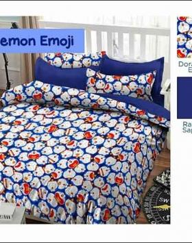 Jual Bed Cover Anak Doraemon Emoji Warna Biru