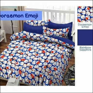 Jual Bed Cover Anak Doraemon Emoji Warna Biru