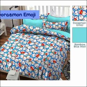 Jual Bed Cover Anak Doraemon Emoji Warna Biru Hijau Tosca