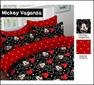Distributor Sprei Katun Murah Mickey Vaganza Warna Hitam dijual online