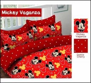 Distributor Sprei Katun Murah Mickey Vaganza warna Merah