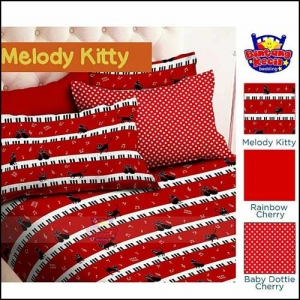 Sprei Bed Cover Star Lucu Cantik Melody Kitty warna Merah