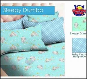 Grosir Bed Cover motif anak elegan Sleepy Dumbo warna Biru