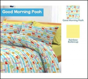 Jual Bed Cover Anak Lucu Good Morning Pooh Cipadu