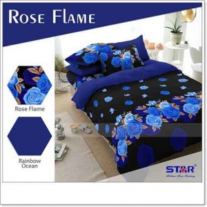 Jual Bed Cover Motif Bunga Rose Flame Bahan Katun