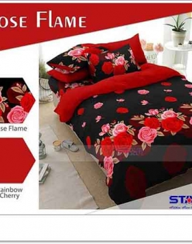 Jual Bed Cover Motif Bunga Rose Flame warna Merah