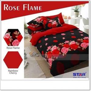 Jual Bed Cover Motif Bunga Rose Flame warna Merah
