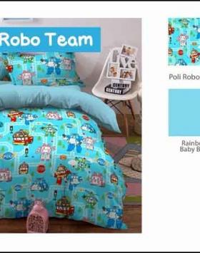 Sprei Bedcover Star Motif Robot Poli Robo Team Biru