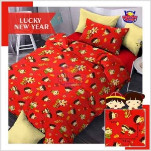 Sprei Terbaru Untuk Tahun Baru 2019 Lucky New Year Merah