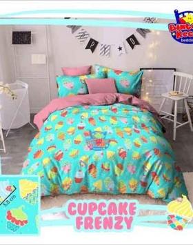 Distributor Sprei Berikut Bedcover Murah CupCake Frenzi Warna Tosca