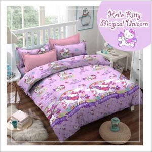 Sprei Bedcover Star motif Hello Kitty Magical Union Warna Ungu