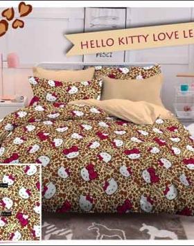 Jual Bedcover Karakter Kartun Hello Kitty Love Leopard warna Coklat