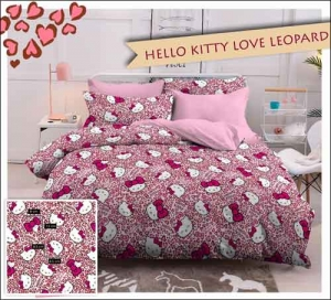 Jual Bedcover Karakter Kartun Hello Kitty Love Leopard warna Salem