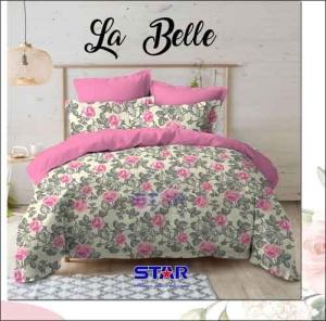 Bedcover Murah Tanah Abang La belle warna Pink motif Bunga