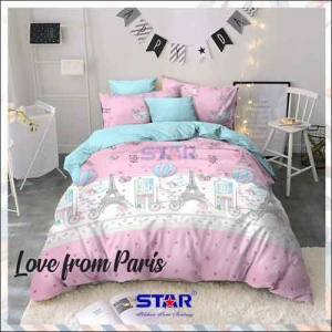 Sprei Bedcover Star Love From Paris warna Pink