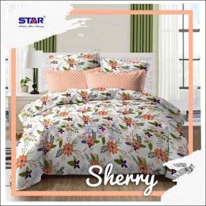 Sprei Star Cantik Motif Bunga Sherry warna Peach