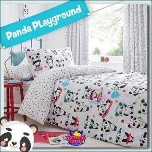 Sprei Star motif Kartun Panda Playground Warna Putih