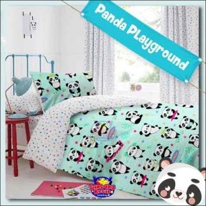 Sprei Star motif kartun Panda Playground Warna Tosca