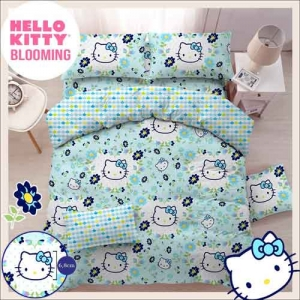 Sprei Star 2019 Motif Kartun Hello Kitty Blooming warna Biru