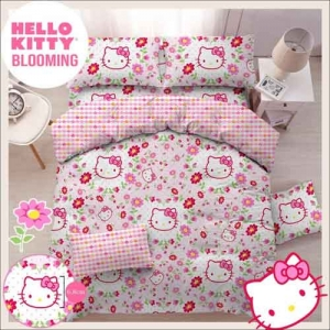 Sprei Star 2019 Motif Kartun Hello Kitty Blooming warna Pink