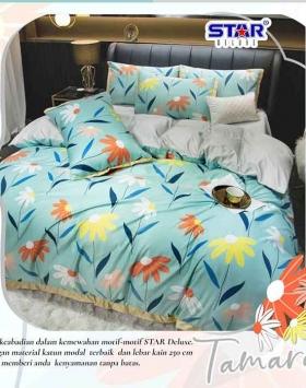 Sprei Bedcover Star Tamara motif bunga Warna Hijau Alami
